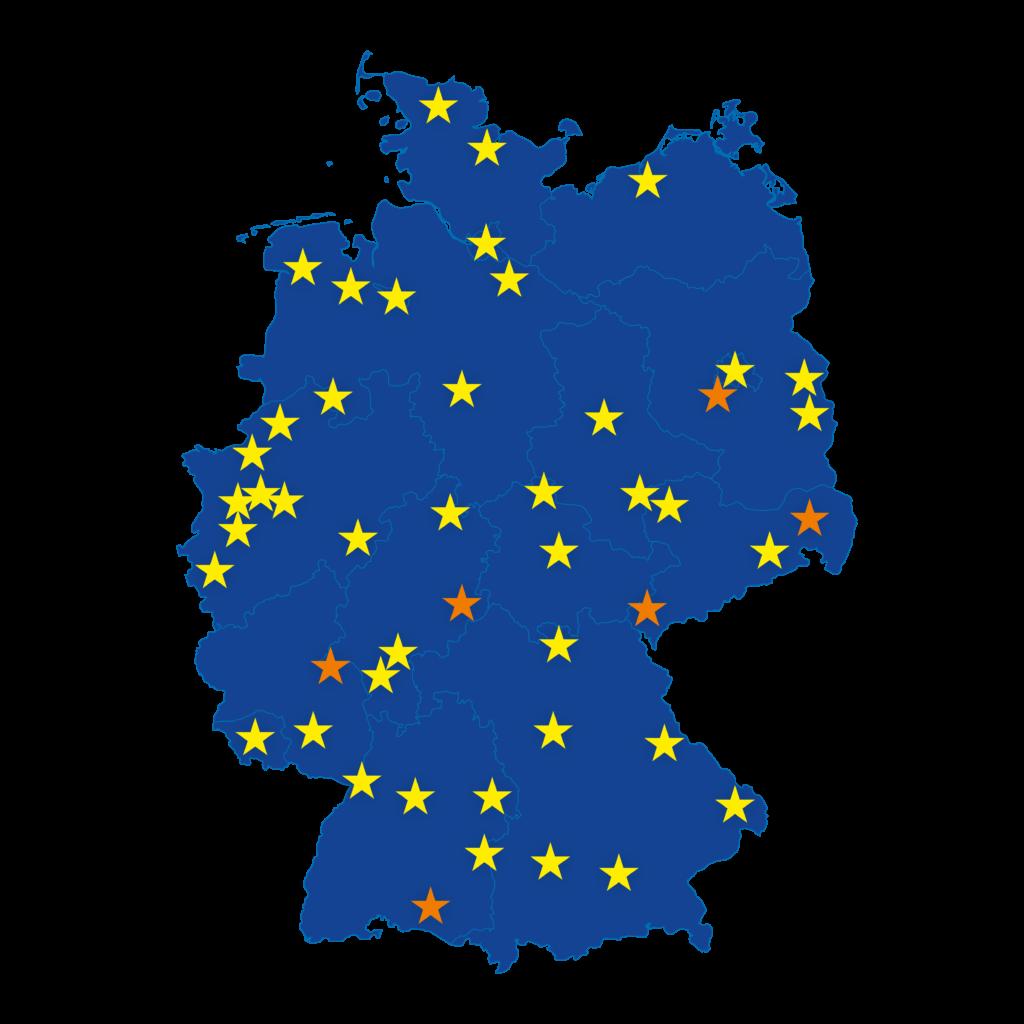 Deutschlandkarte mit allen EUROPE DIRECT Standorten